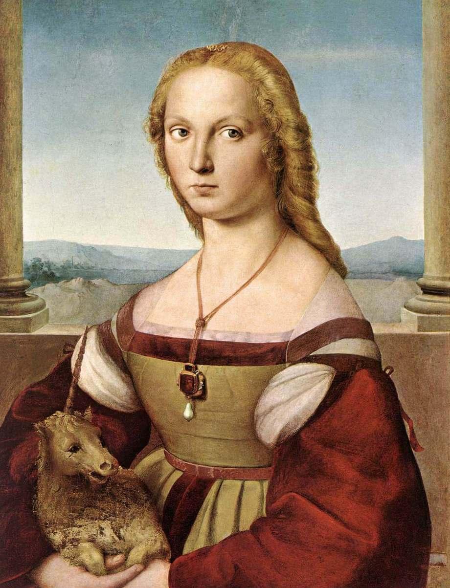 Дама с единорогом - Рафаэль Санти (1506, Галерея Боргезе, Рим)