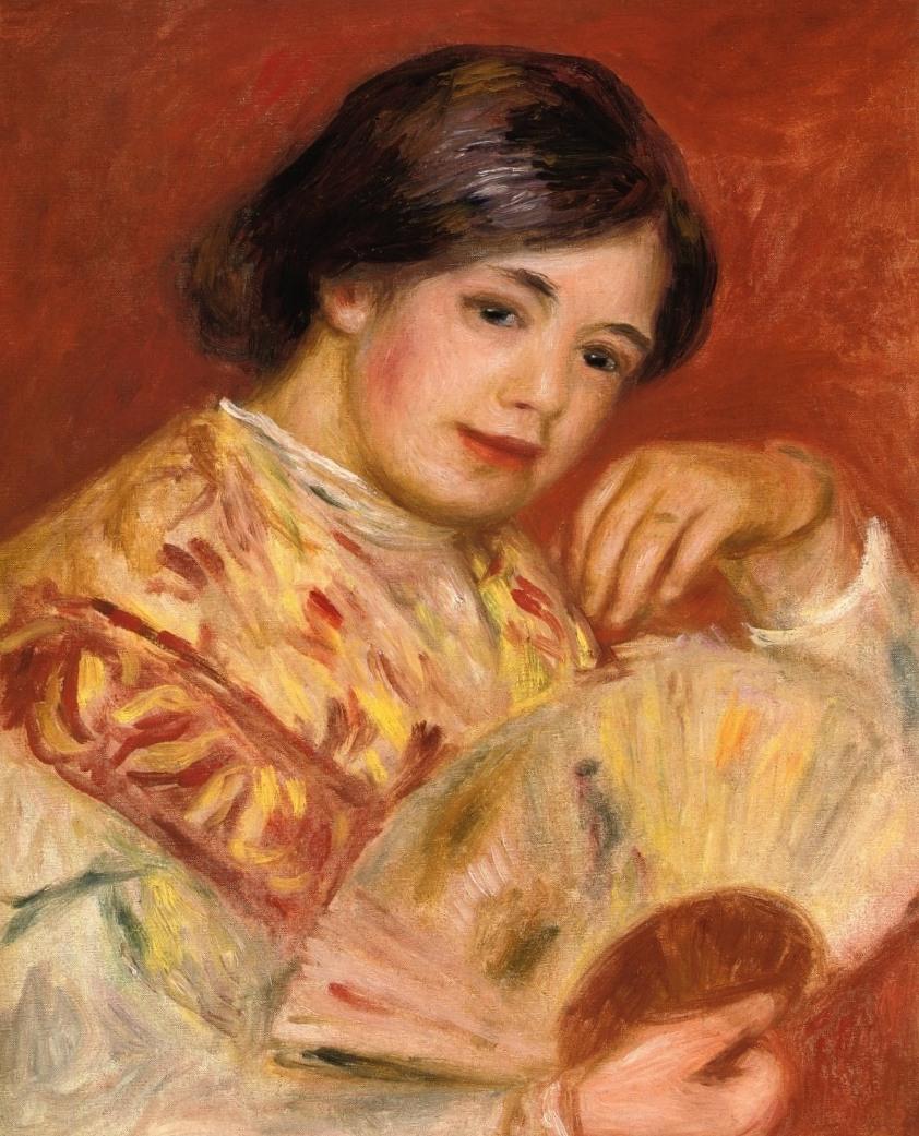 Девушка с веером - Пьер Огюст Ренуар (1906)