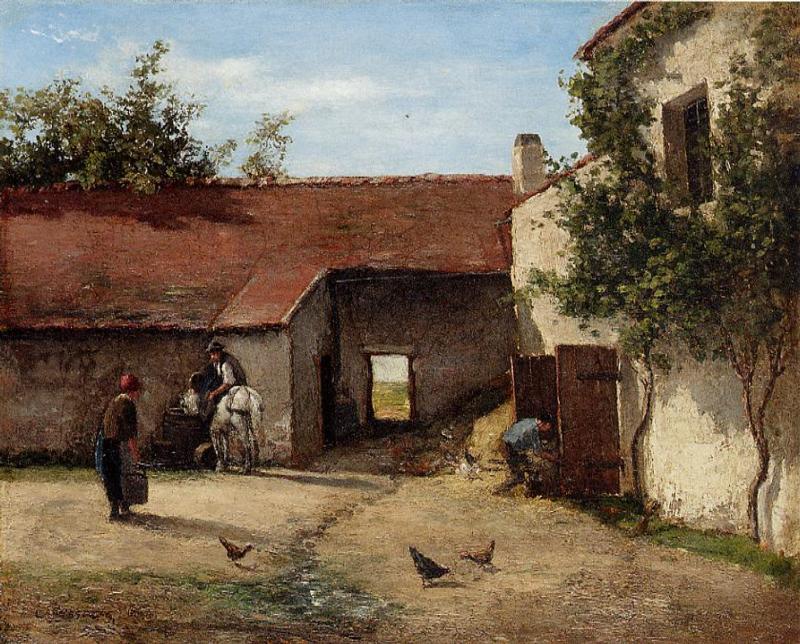 Двор фермы - Камиль Писсаро (1863)