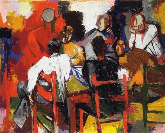 Игроки в карты (Друзья в гостинице) - Ренато Гуттузо (1957)
