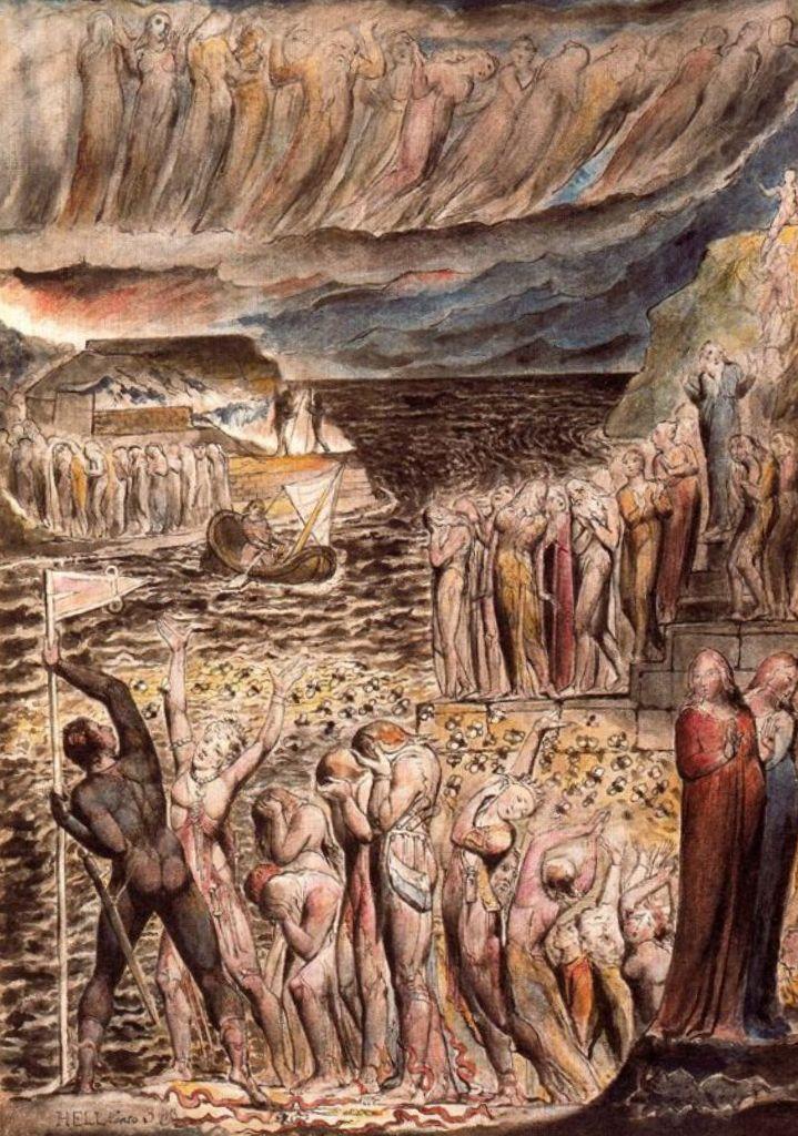 Иллюстрация к Данте Божественная комедия, ад - Уильям Блейк (1795)