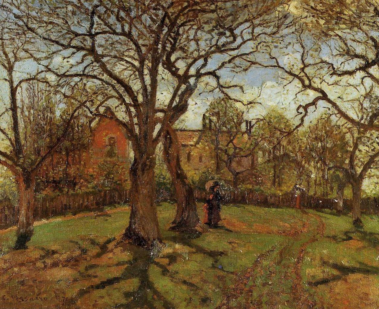 Каштаны, весна - Камиль Писсарро (1870, Музей д'Орсэ, Париж)