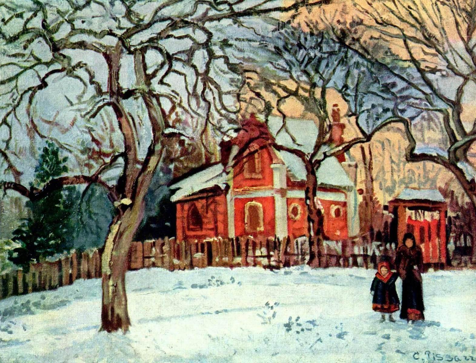 Каштаны, зима - Камиль Писсарро (1872, Музей д'Орсэ, Париж)