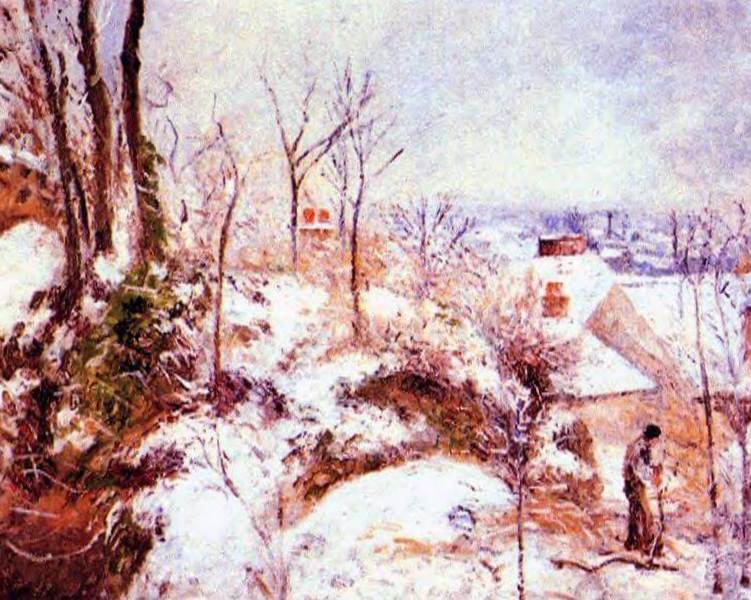 Коттедж в снегу - Камиль Писсарро (1879)