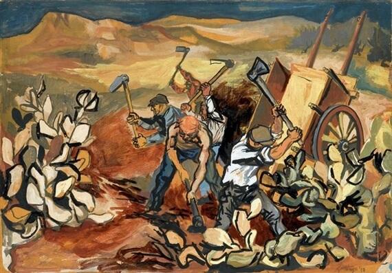 Крестьяне на работе - Ренато Гуттузо (1950)