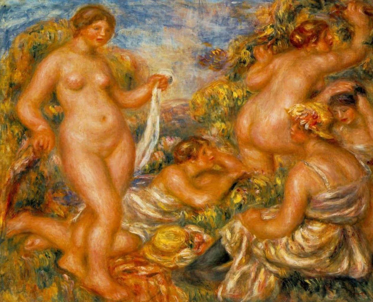 Купальщицы - Пьер Огюст Ренуар ( 1918—1919, Музей д'Орсэ, Париж)