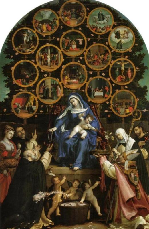 Мадонна Розария - Лоренцо Лотто (1539)