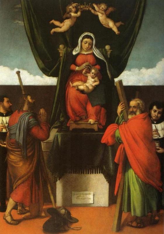 Мадонна с младенцем на троне с четырьмя святыми - Лоренцо Лотто (1546)