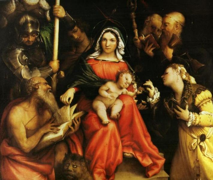 Мистический брак Святой Екатерины Александрийской и Святой Екатерины Сиены - Лоренцо Лотто (1524)
