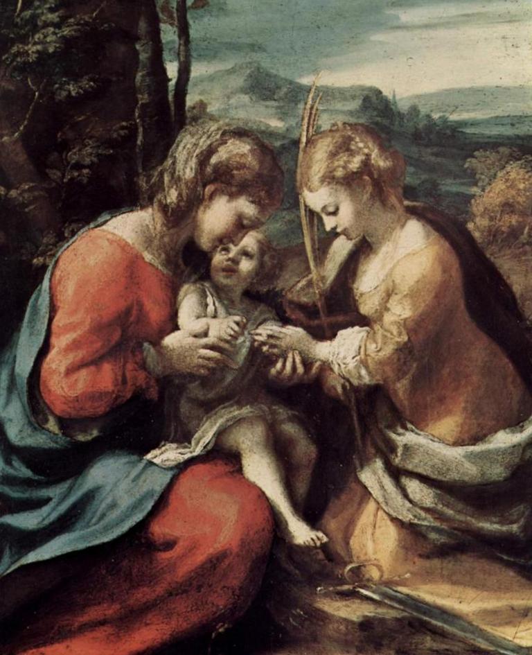 Мистическое обручение святой Екатерины - Корреджо (1518, Национальная галерея искусства, Вашингтон)