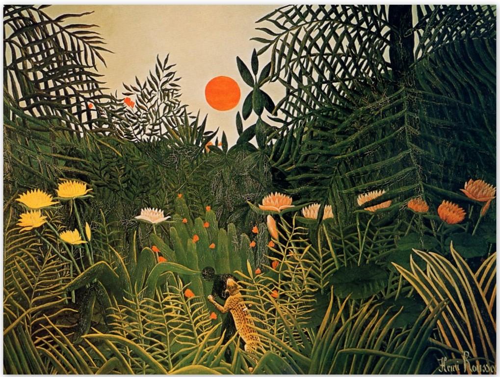 Нападение ягуара на негра в джунглях - Анри Руссо (1910)