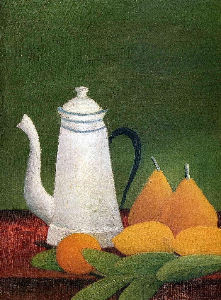 Натюрморт с чайником и фруктами - Анри Руссо(1910)
