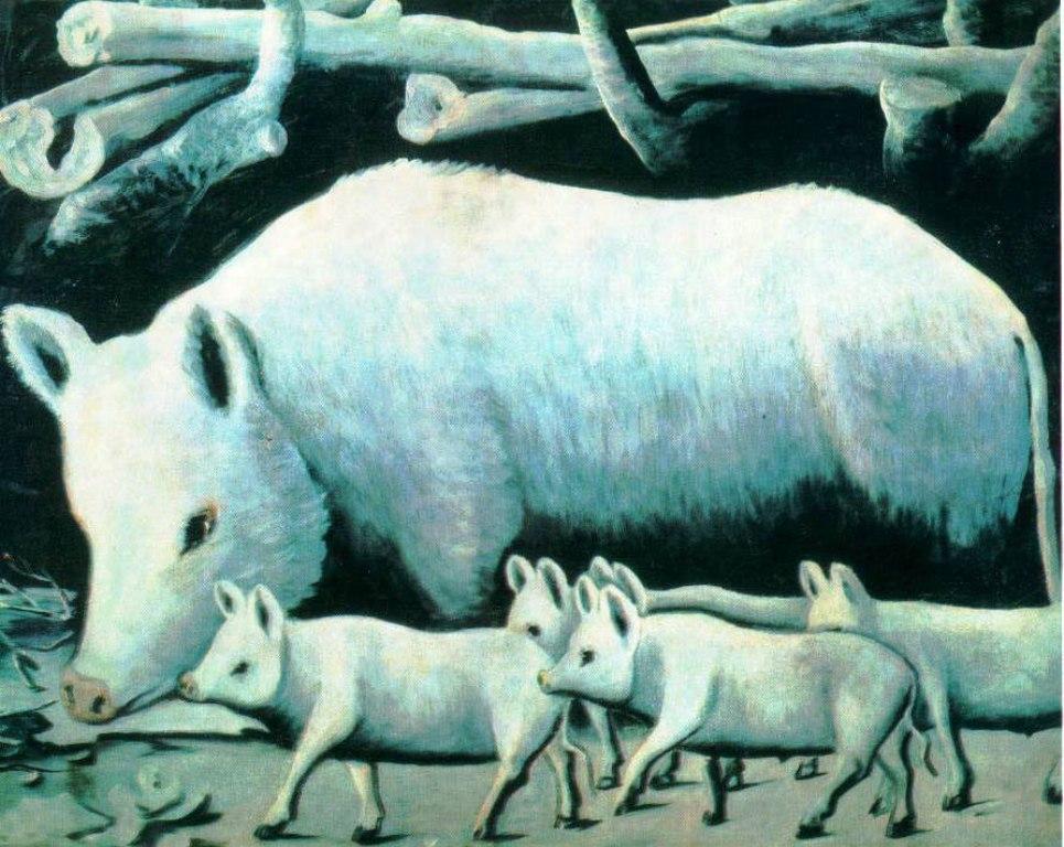 Нико Пиросмани - Белая свинья с поросятами