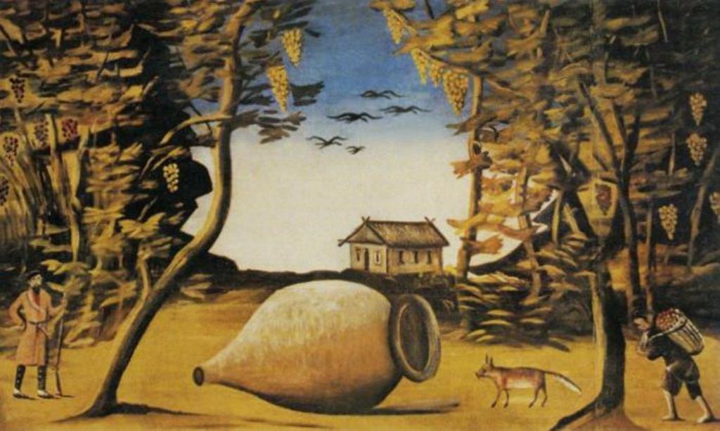 Нико Пиросмани - Большой кувшин вина в лесу