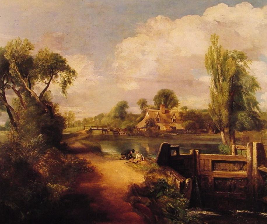 Пейзаж, Мальчики ловят рыбу - Джон Констебл (1813)