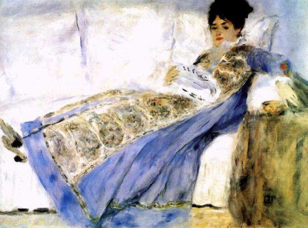 Портрет жены Клода Моне на диване. Пьер Ренуар