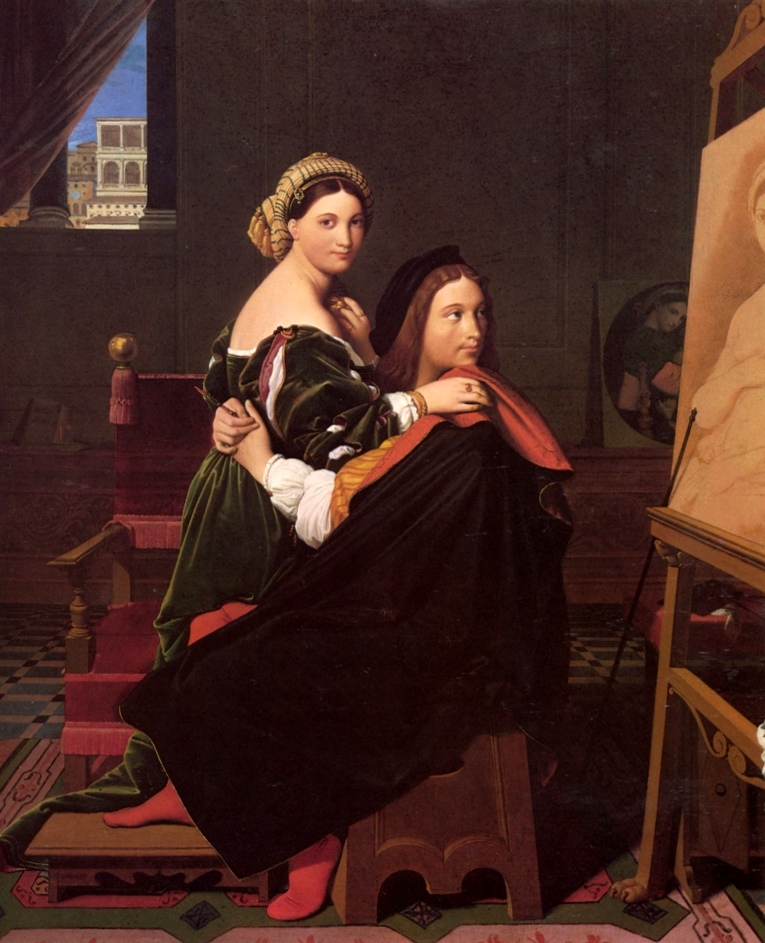 Рафаэль и Форнарина - Жан Огюст Доминик Энгр (1814, Музей Фогг, Кембридж, Массачусетс)