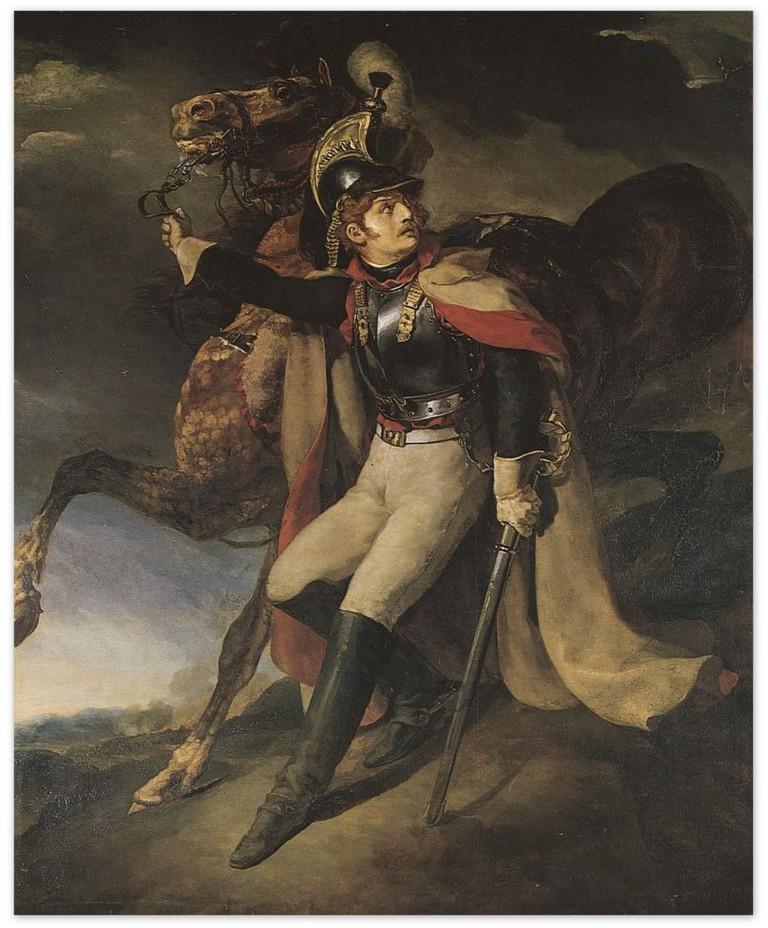 Раненый кирасир, покидающий поле боя - Теодор Жерико (1814. Париж, Лувр)
