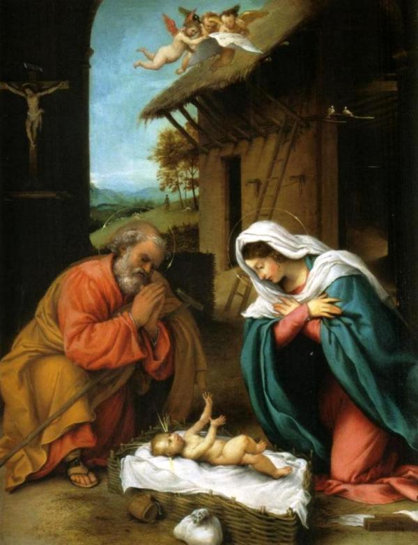 Рождество Христово - Лоренцо Лотто (1523)