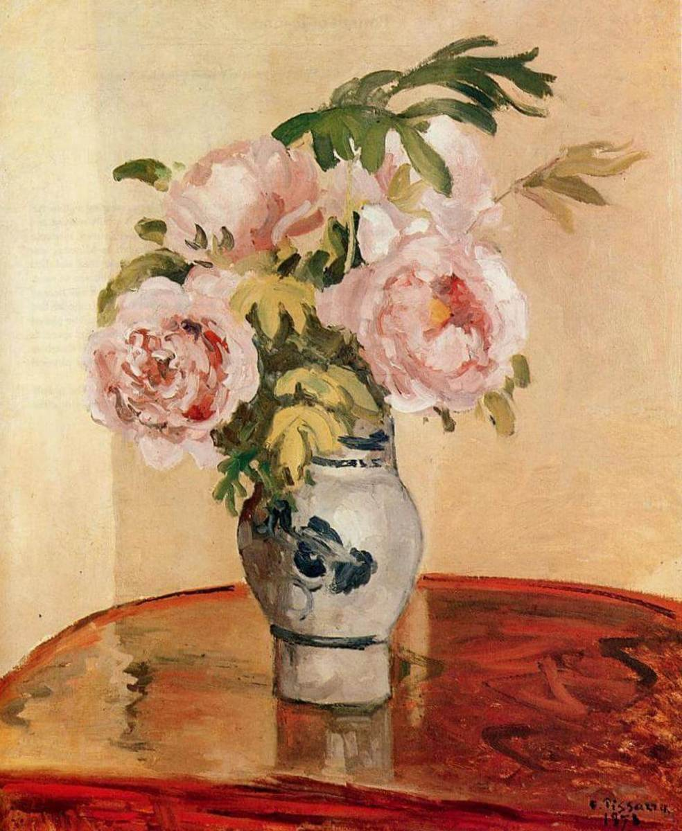 Розовые пионы - Камиль Писсарро (1873)