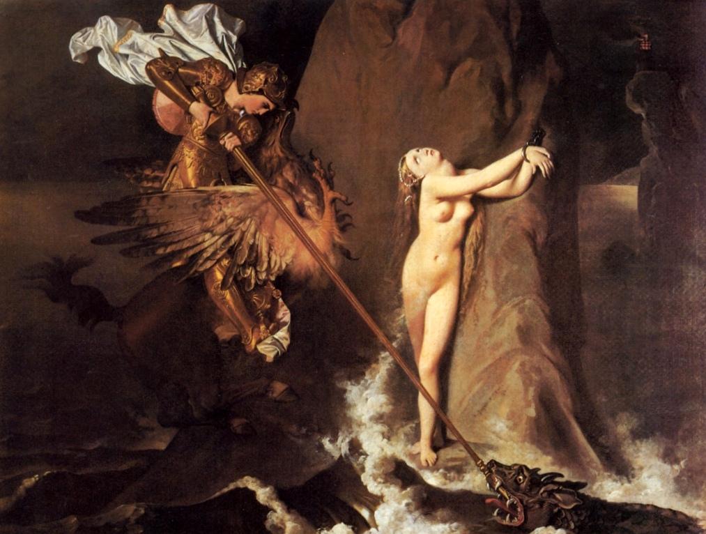 Руджеро освобождает Анжелику - Жан Огюст Доминик Энгр (1819, Лувр, Париж)