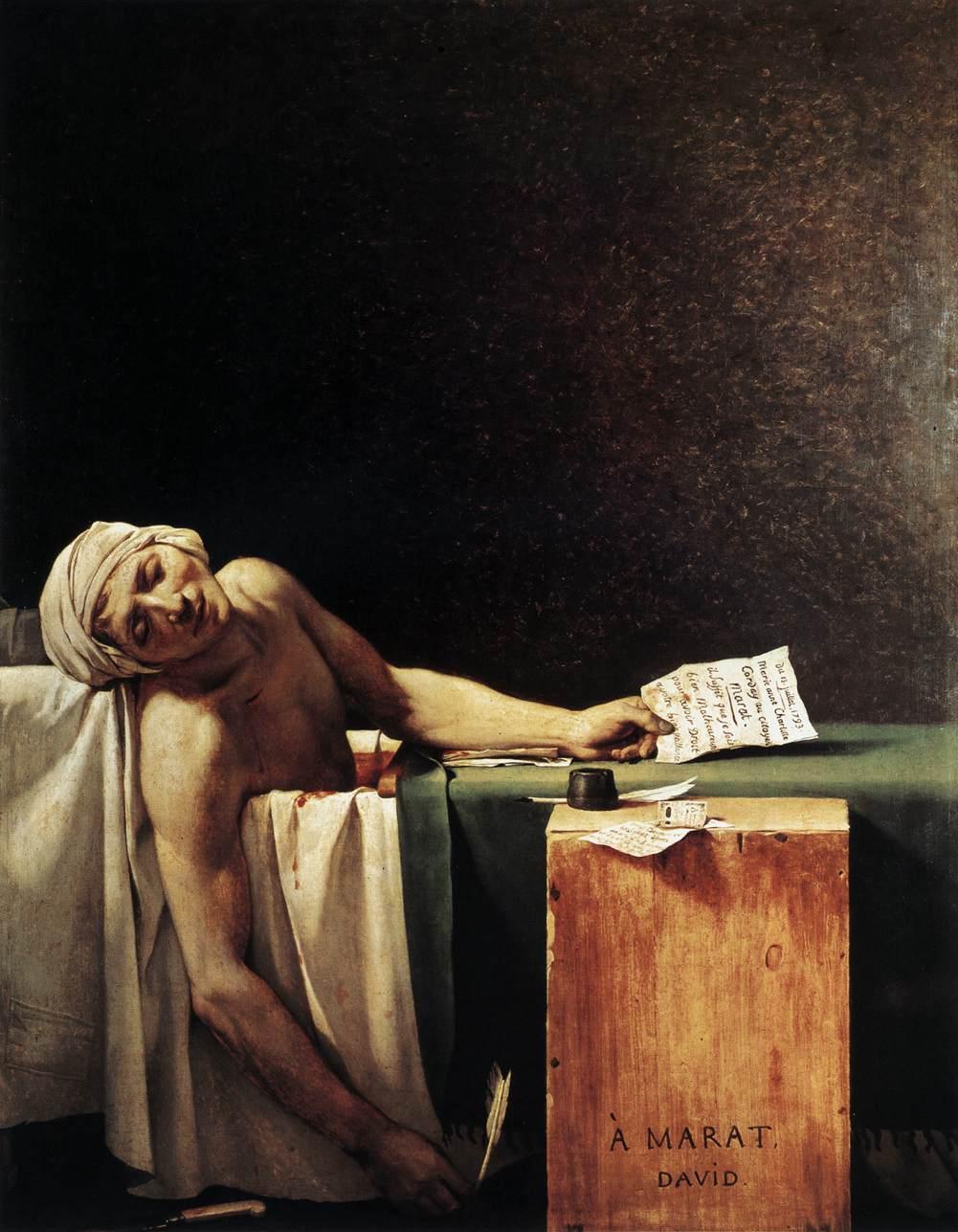 Смерть Марата - Жак Луи Давид (1793, Королевские музеи изящных искусств, Брюссель)