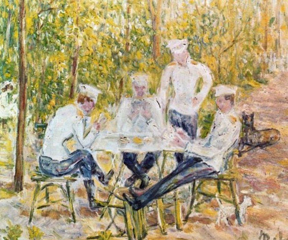 Солдаты играющие в карты - Михаил Федорович Ларионов (1903)