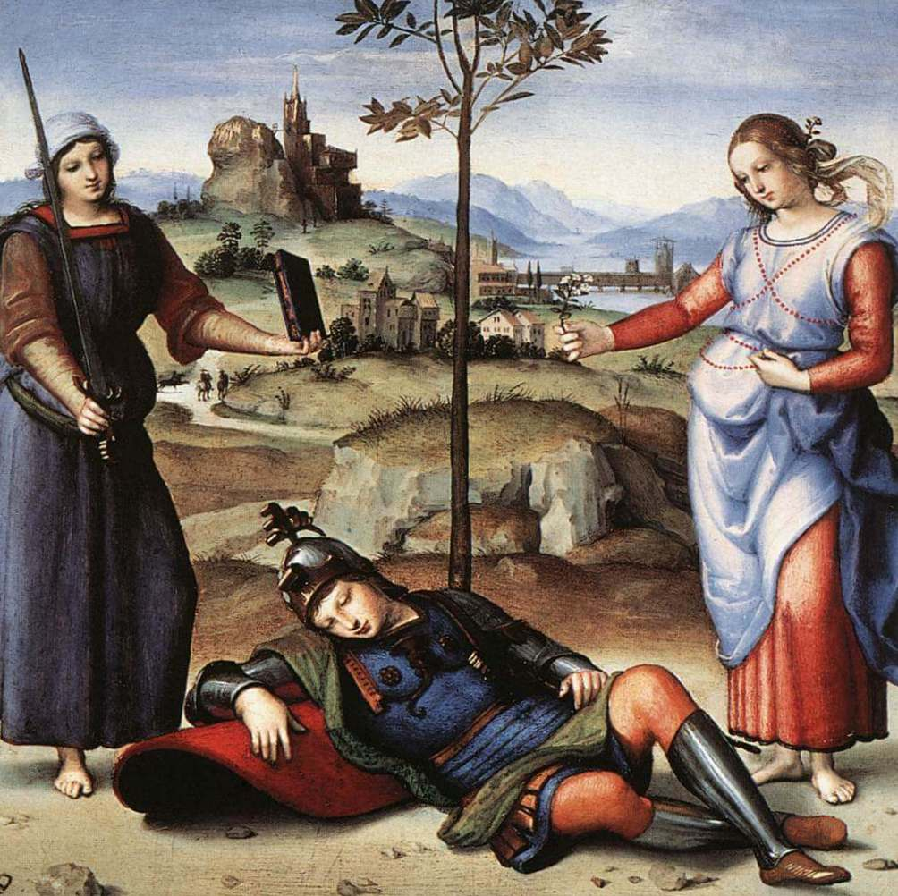 Сон рыцаря флорентийского - Рафаэль Санти (1504, Национальная галерея, Лондон)