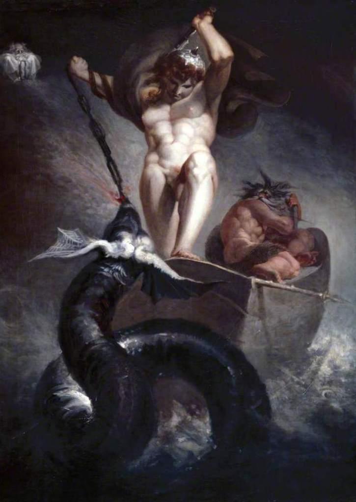 Тор сражается с мировым змеем - Генрих Фюcсли (1790)