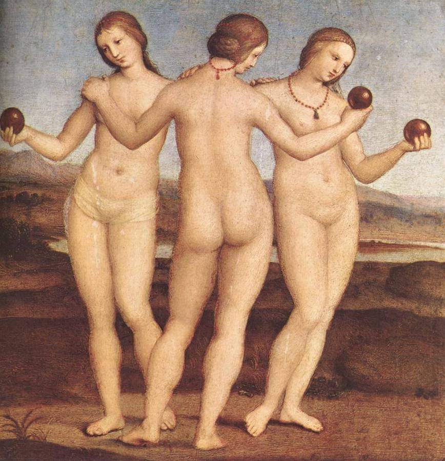 Три грации - Рафаэль Санти (1505, Музей Конде, Шантийи)