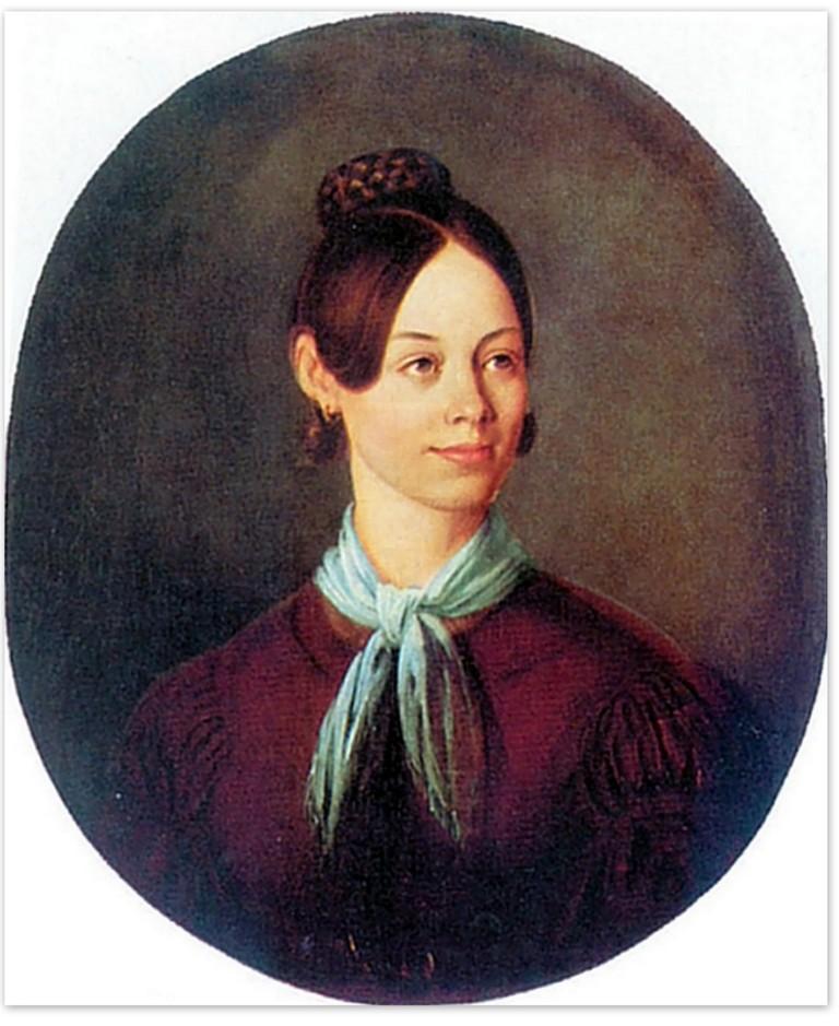 Василий Козьмич Шебуев - Портрет неизвестной в коричневом платье (1837)