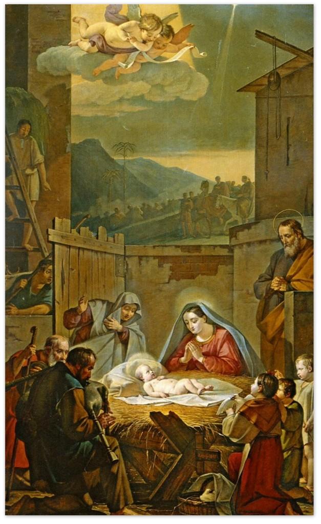 Василий Козьмич Шебуев - Рождество Христово (Поклонение пастухов) (1847, Государственная Третьяковская галерея, Москва)