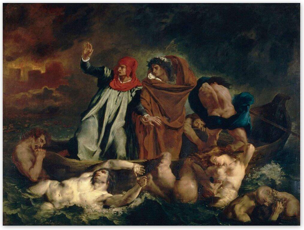Эжен Делакруа - Ладья Данте (1822, Лувр, Париж)