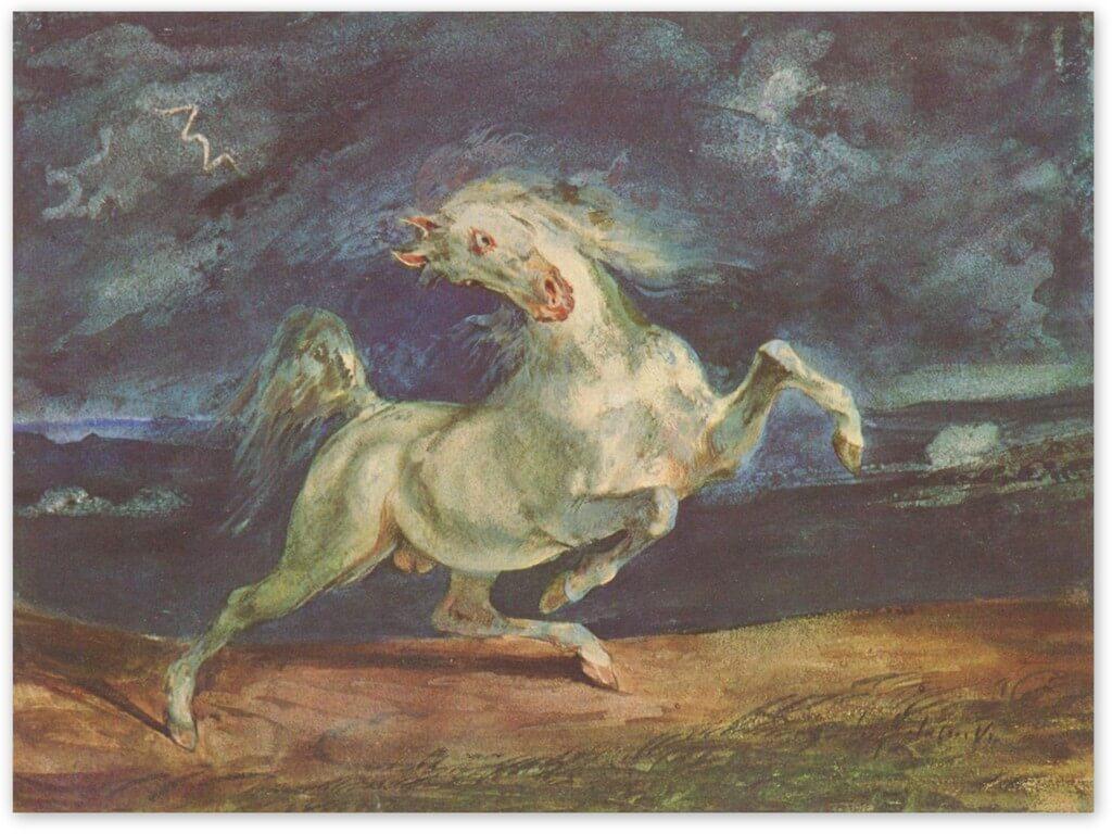 Эжен Делакруа - Лошадь, испуганная молнией (1824, Музей изобразительных искусств, Будапешт)