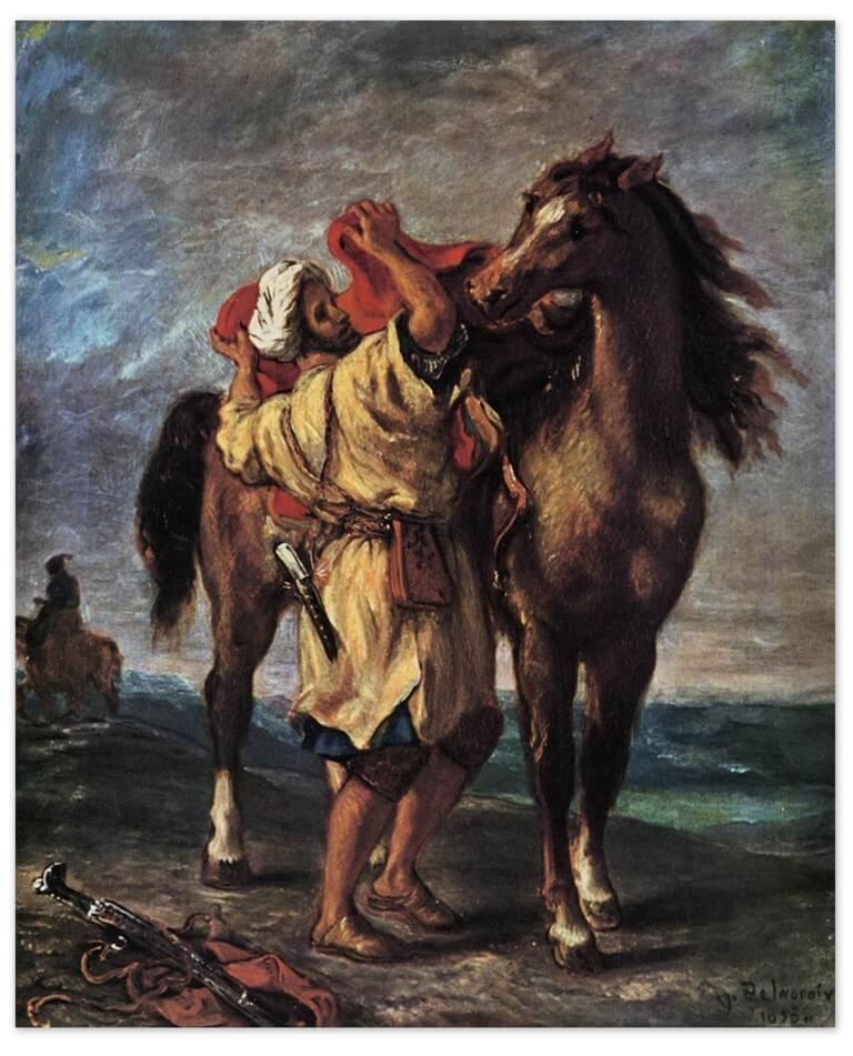 Эжен Делакруа - Марокканец, седлающий коня (1837, Нант)