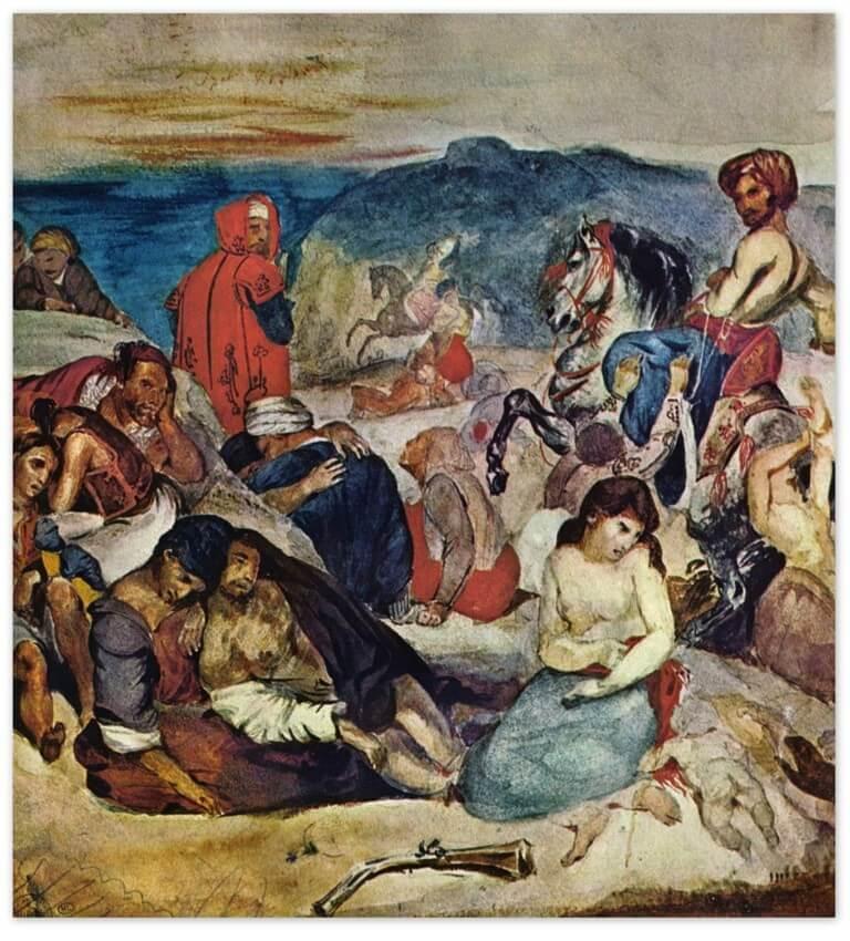 Эжен Делакруа - Резня на Хиосе (1822, Лувр, Париж)