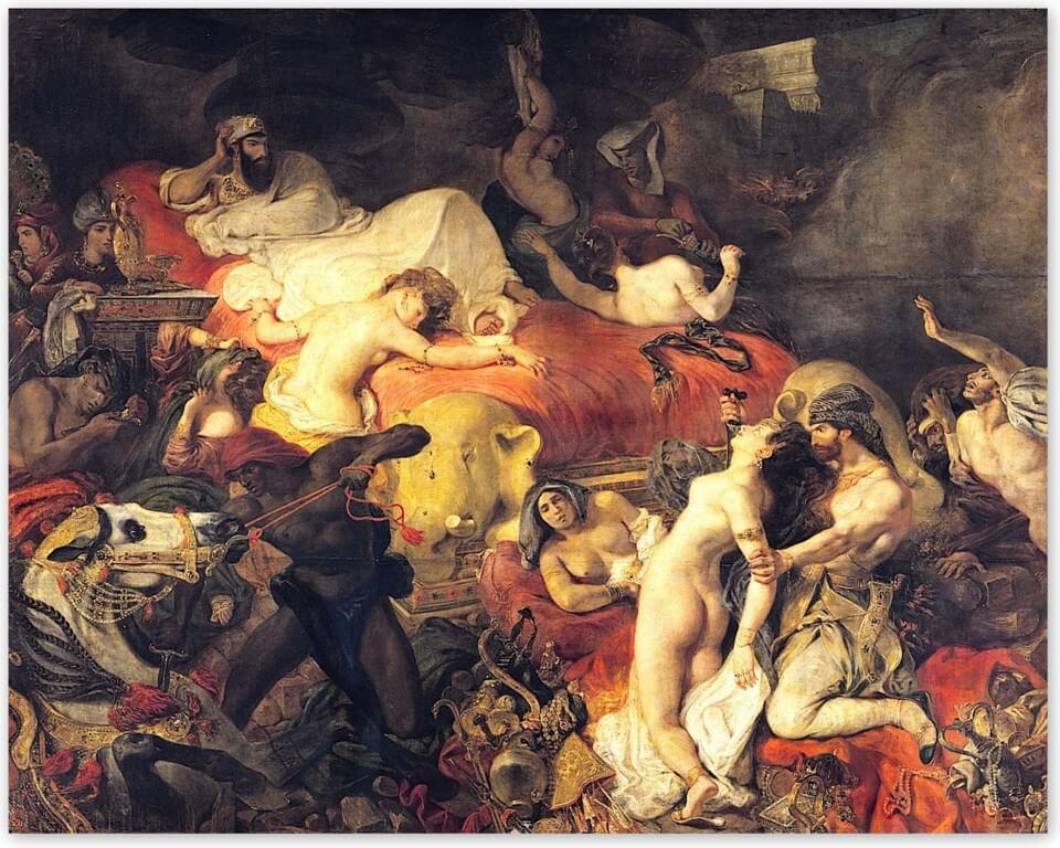 Эжен Делакруа - Смерть Сарда (1827, Лувр, Париж)