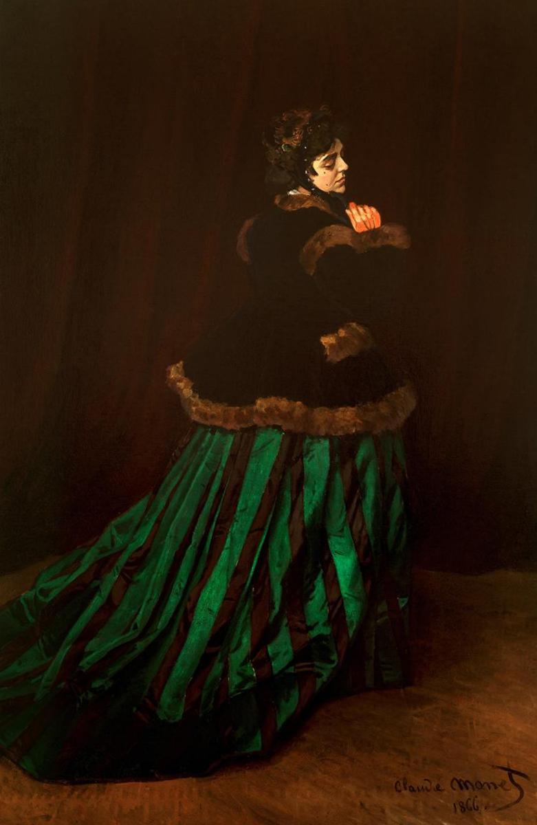 Женщина в зеленом платье - Клод Моне (1866,Кунстхалле, Бремен )