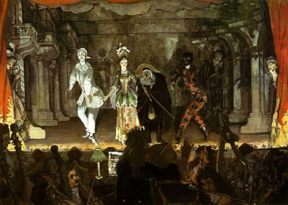 Александра Бенуа - Итальянская комедия - billet doux (1905, Гуашь, тушь, карандаш, бумага на картоне 47,8 х 65,6, Третьяковская галерея, Москва)