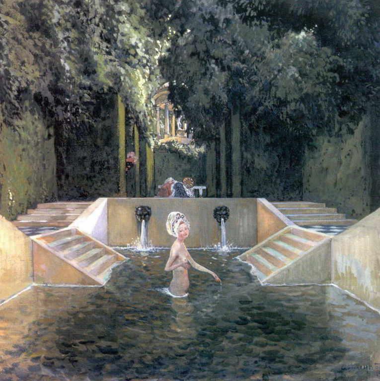 Александра Бенуа - Купальня маркизы (1906 г.,Картон, гуашь, перо 51 х 47,5, Третьяковская галерея, Москва)