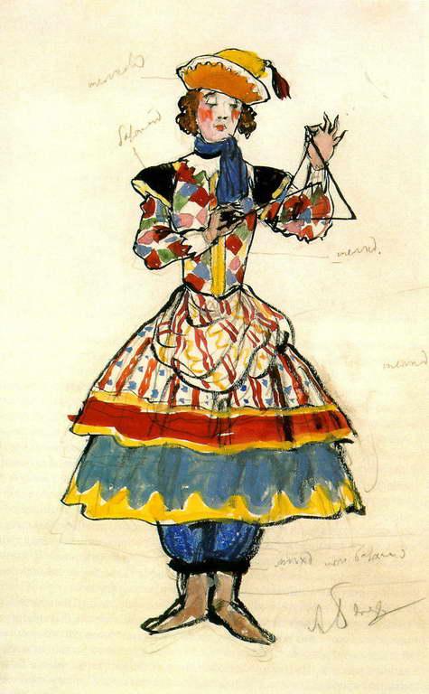 Александра Бенуа - Уличная танцовщица (1917 г.)