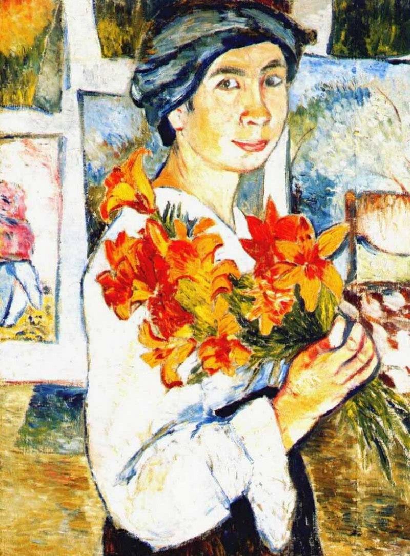 Гончарова Наталья Сергеевна - Автопортрет с желтыми лилиями (1907, Холст, масло. 77 x 58.2 см, Третьяковская галерея, Москва)