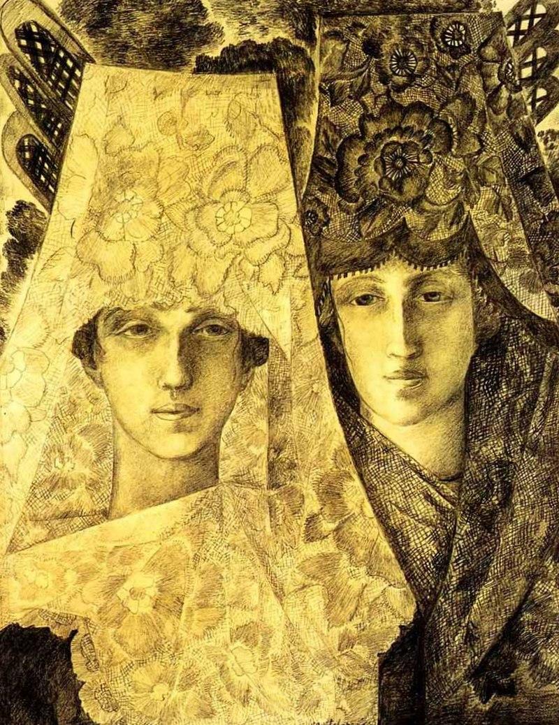 Гончарова Наталья Сергеевна - Испанки (Гальский петух) (1916г, Бумага, графитный карандаш 64,2 х 49, Третьяковская галерея, Москва)