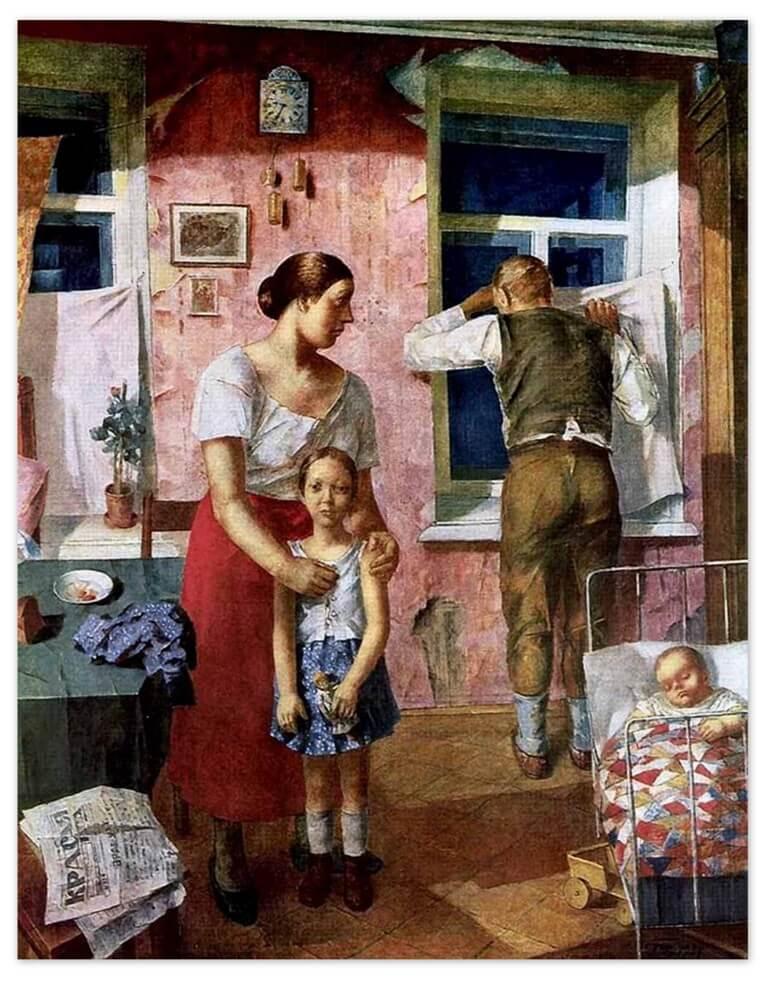 Петров-Водкин Кузьма Сергеевич - 1919 год. Тревога (1934г., Русский музей, Санкт-Петербруг)