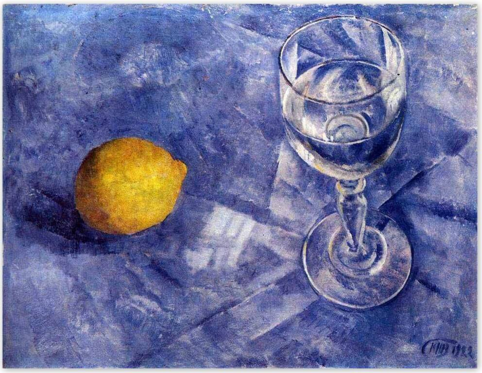 Петров-Водкин Кузьма Сергеевич - Бокал и лимон (1922)
