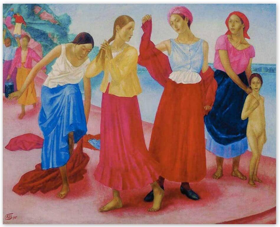 Петров-Водкин Кузьма Сергеевич - Девушки на Волге (1915, Третьяковская галерея, Москва)