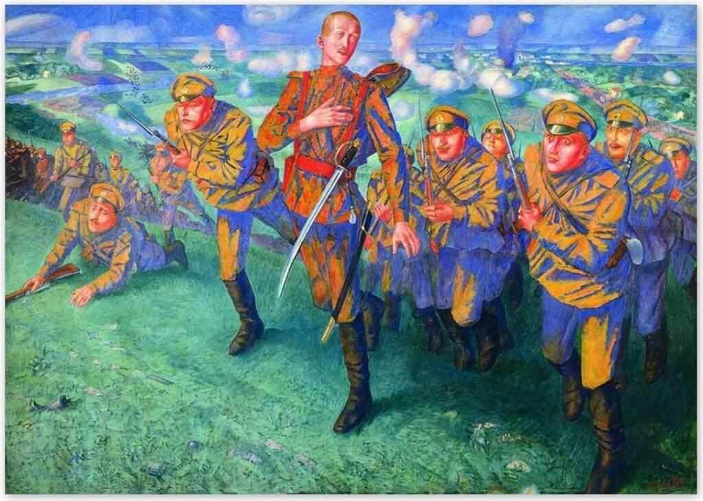 Петров-Водкин Кузьма Сергеевич - На линии огня (1916, Русский музей, Санкт-Петербруг)