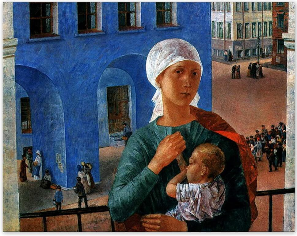 Петров-Водкин Кузьма Сергеевич - Петроградская мадонна (1920 г, Третьяковская галерея, Москва)