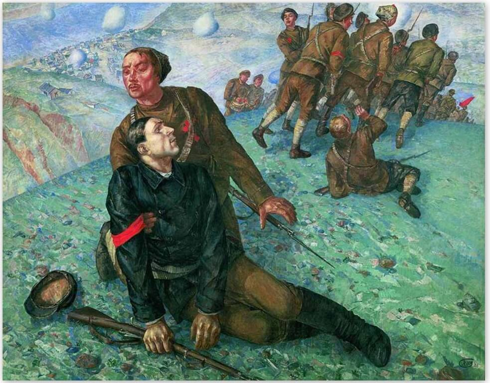 Петров-Водкин Кузьма Сергеевич - Смерть комиссара (1928, Русский музей, Санкт-Петербруг)