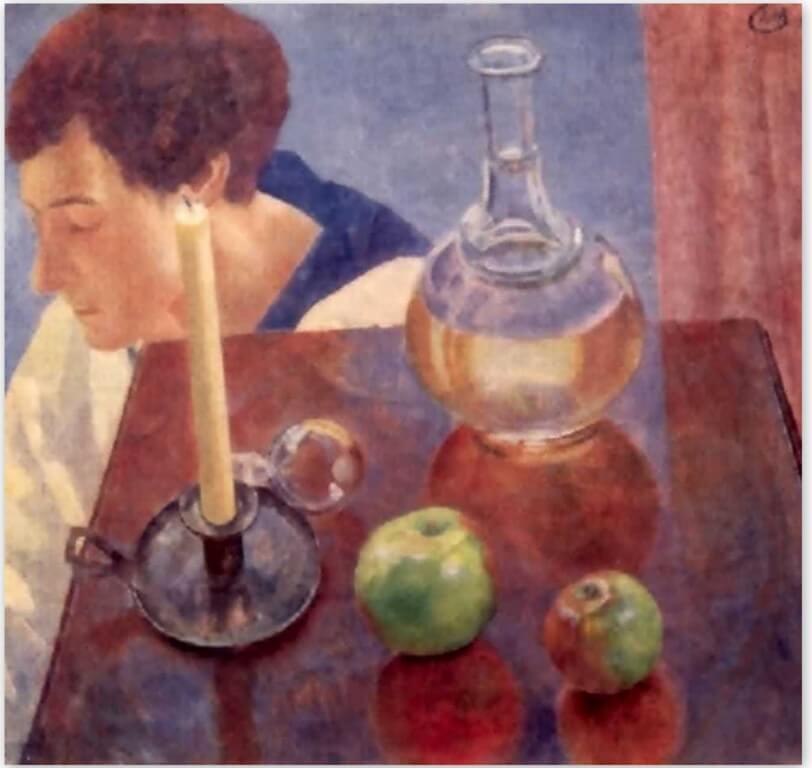 Петров-Водкин Кузьма Сергеевич - Свеча и графин (1918г., Третьяковская галерея, Москва)